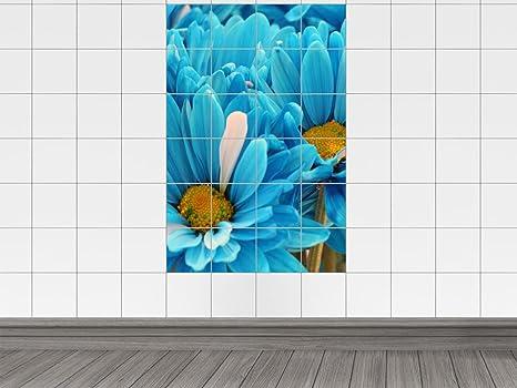 Piastrelle adesivo piastrelle immagine fiori di colore ciano bagno