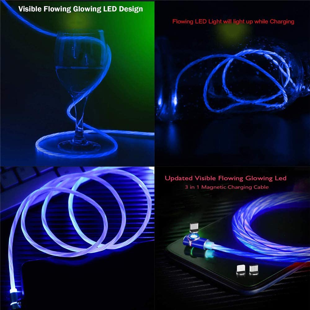 flowing led light up data cable type c