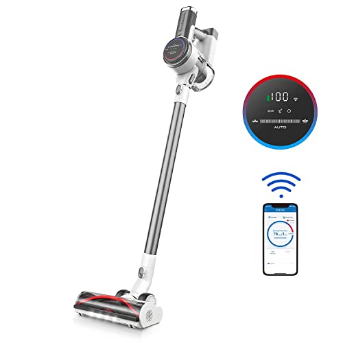 Tineco Cordless Vacuum Cleaner, Pure ONE S12 Plus Smart Stick Vacuum 500W Rating Power Auto-Adjust Suction LED Screen Display App Control 2LED Power Brush Perfect for Hardfloor Carpet Hair Corner