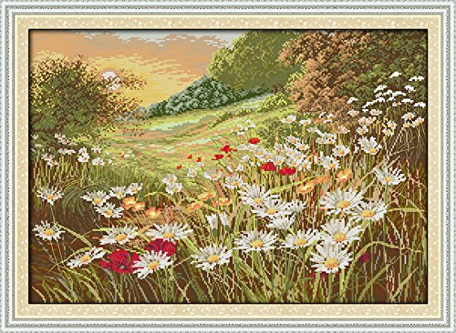 Count Stamped Cross Stitch (Joy Sunday® Cross Stitch Kit 14CT Stamped Embroidery Kits Precise Printed Needlework- Beautiful Flowers (2) 59×43CM)