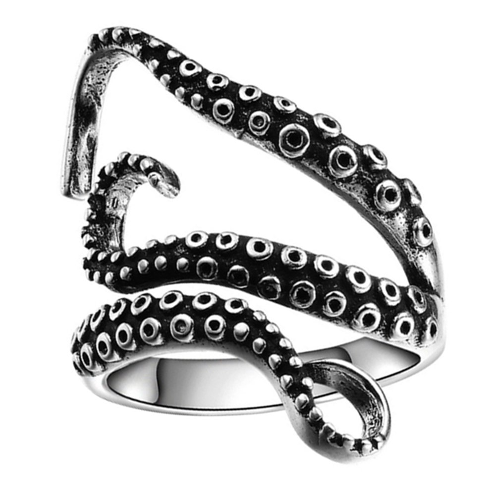 Stylish Vintage Silver Ring - Retro Gothic Punk Adjustable 3D Octopus Shaped Wraparound Open Finger Ring for Adult Prizemall