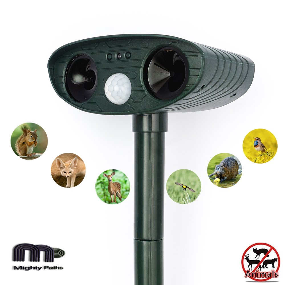 Mighty Paths Animal Repellent Outdoor Ultrasonic Animal Repeller Solar Animal Repeller with Motion Sensor Device to Scare Birds Cats Dogs Deers Rabbits Squirrels and Other Unwanted Animals Away