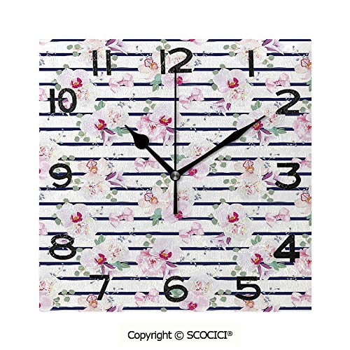 SCOCICI 8 inch Square Clock Spring Bouquets On Stripes Orchid Peony Bell Flowers Feminine Decorative Unique Wall Clock-for Living Room, Bedroom or Kitchen Use