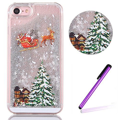 "iPhone 6S Case EMAXELER 3D Festival Gift Brilliant Luxury Bling Glitter Liquid Floating Moving Hard Protective Case for Apple iPhone 6S 4.7"" Send 1Pcs Stylus Pen Christmas Tree Silvery"