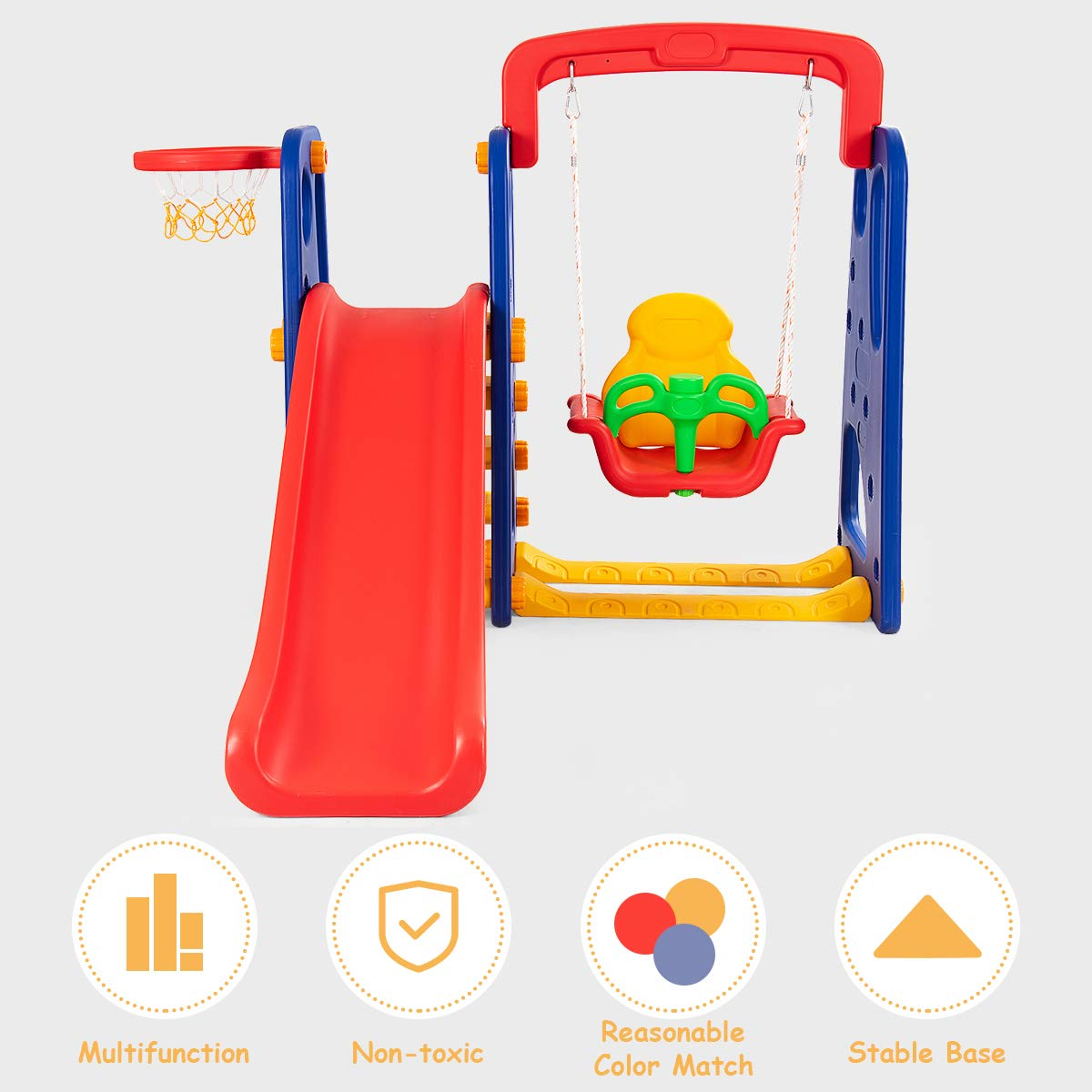 Costzon Toddler Climber and Swing Set, Junior Basketball Hoop Playset for Both Indoors & Backyard (3-in-1 Slide & Swing Set) by Costzon (Image #5)