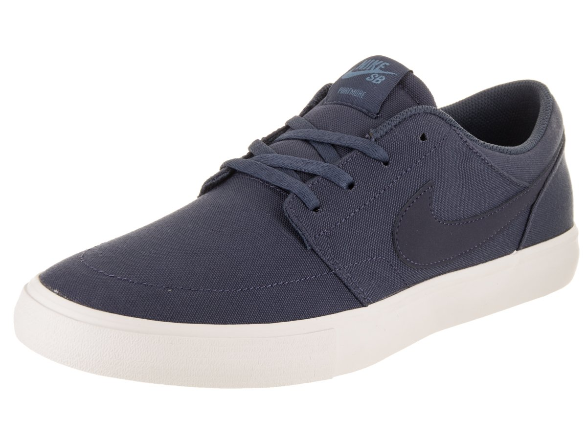 NIKE Men's Sb Portmore Ii Solar Ankle-High Canvas Skateboarding Shoe B0727S515Q 9.5 D(M) US|Thunder Blue/Thunder Blue-noise Aqua