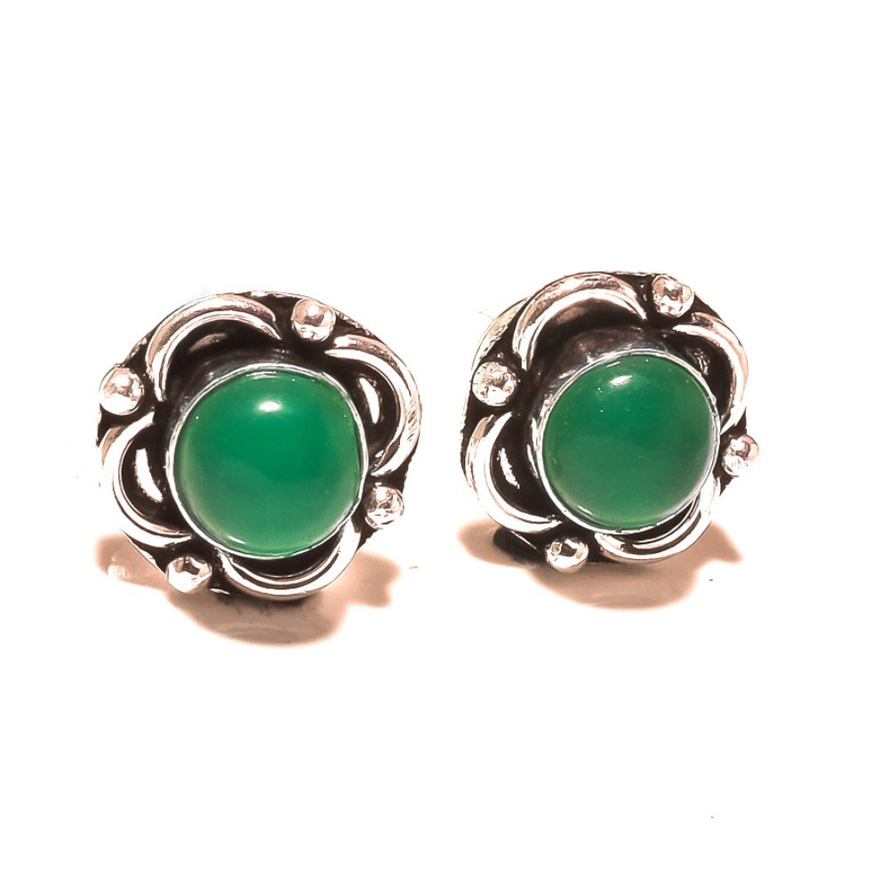 Unique Jewelry Green Onyx Sterling Silver Overlay 5 Grams Stud//Earring 12 mm