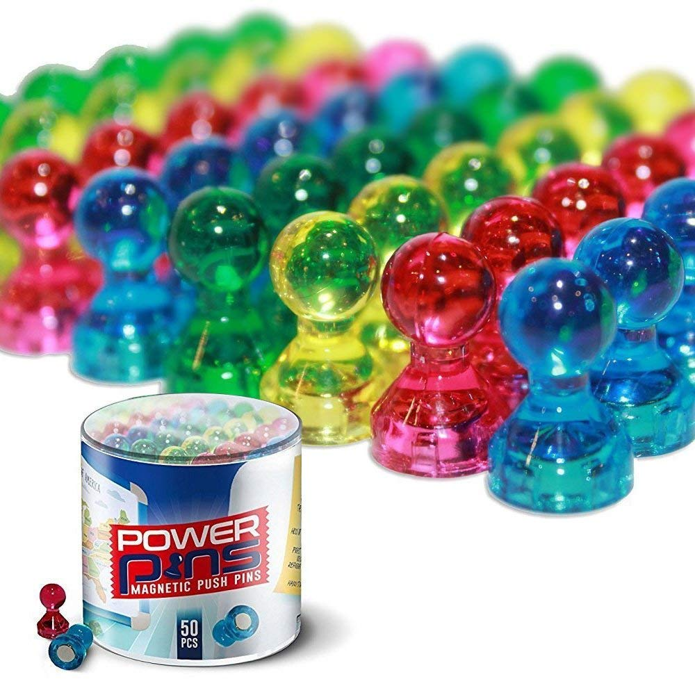 PowerPins 50 Assorted Colour Magnets for Home or Office - Push Pin Magnets for Whiteboards, Refrigerators & More