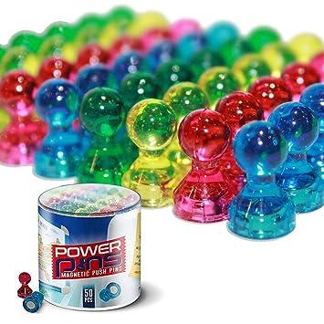 50 imanes PowerPins de varios colores para el hogar o la oficina: imanes con pasador de empuje para pizarras blancas, neveras y demás.
