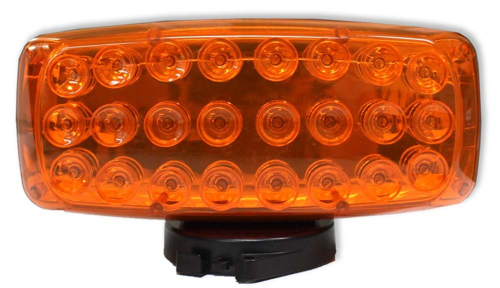 ToolUSA 7-inch Large Amber 24 Led Safety Light With Magnetic Base: SF-25013