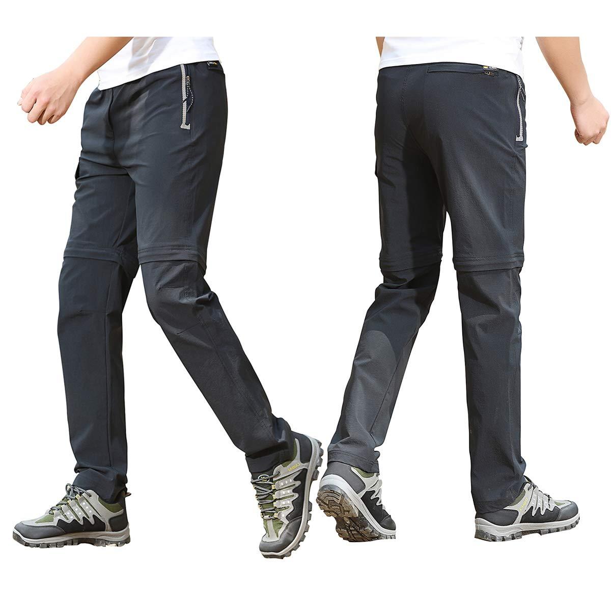 Hivexagon Pantalon Convertible en Short pour Hommes avec Fermeture /éclair /à s/échage Rapide pour la p/êche Voyages VTT et randonn/ée en Plein r/ésistant et l/éger
