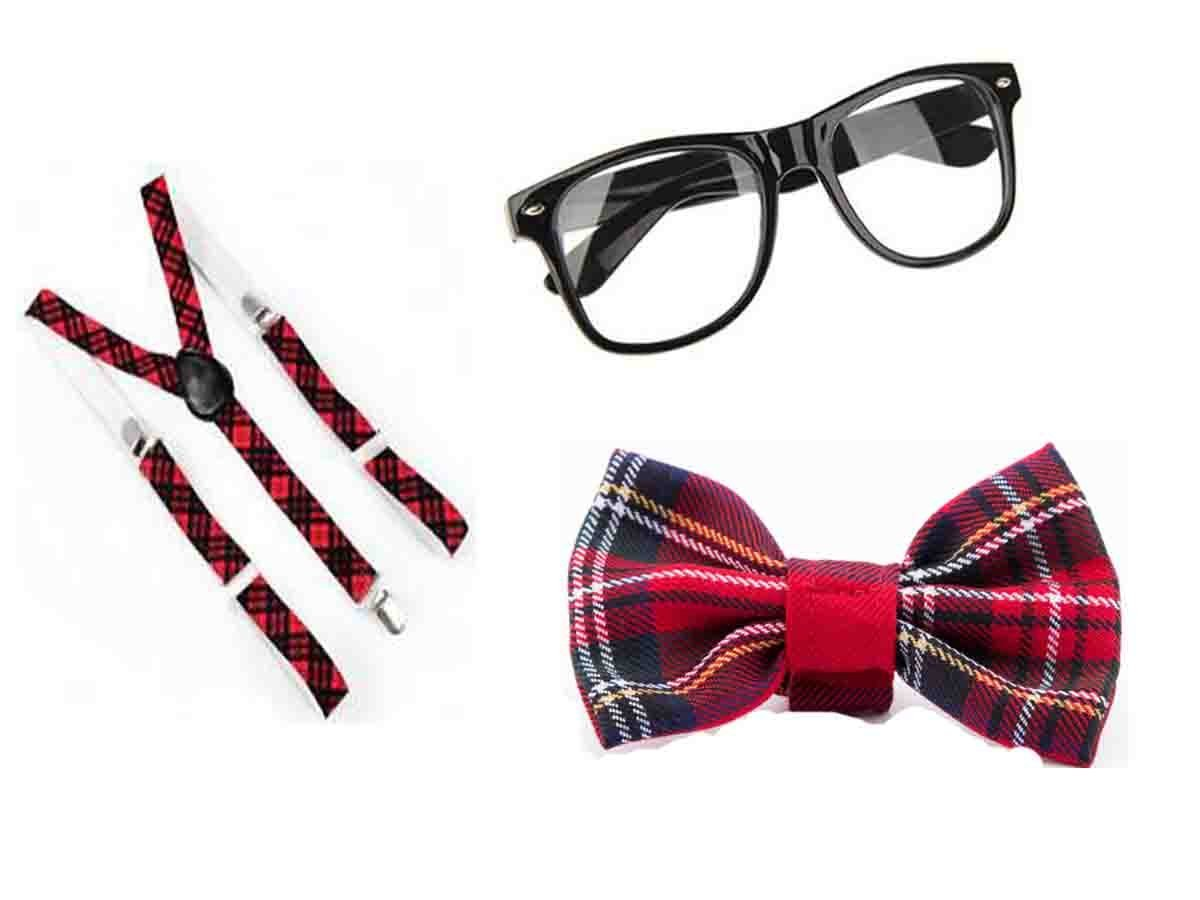Glossy Look Big Girls' Tartan Nerd Geek Glasses Bow Squad School 3 Pcs Set One Size Red