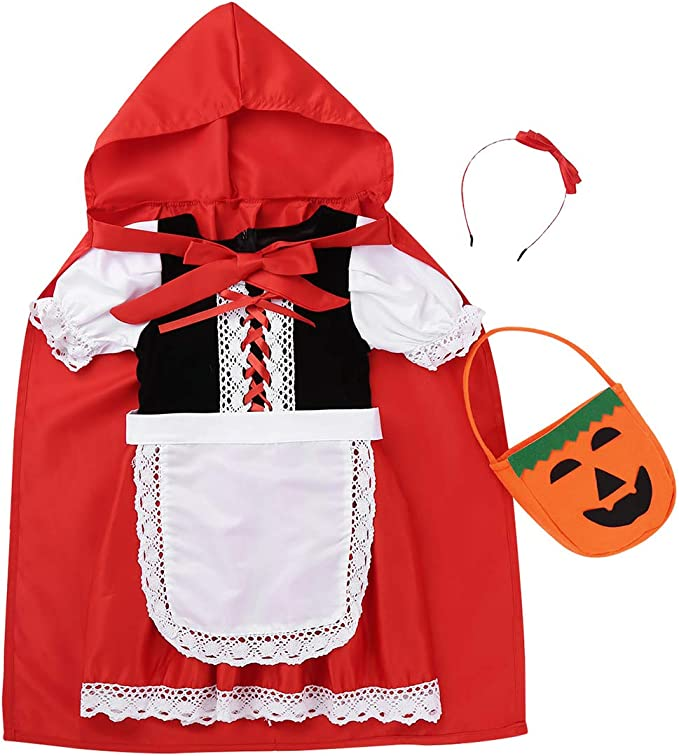 YiZYiF Disfraz Caperucita Roja para Niñas Vestido + Capa + Bolsa + ...