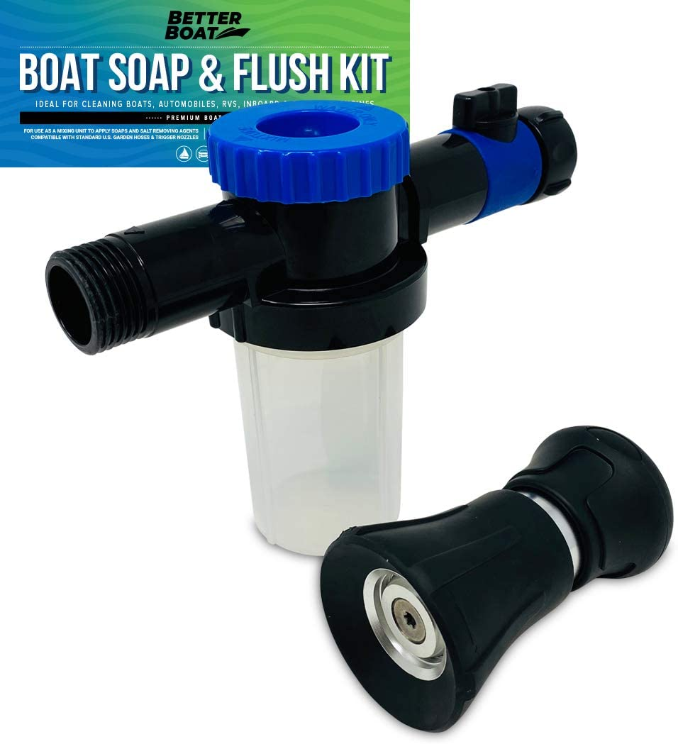Car Wash Sprayer and Boat Engine Flush Kit | Water Hose Mixer to Get Salt Away and Flusher for Boat Motor and Car Cleaning