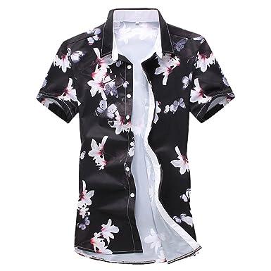 bb4df283 Zhiyuanan Men's Short Sleeve Flower Hawaiian Shirt Floral Patterns Tops  Large Size Casual Holiday Beach Shirt