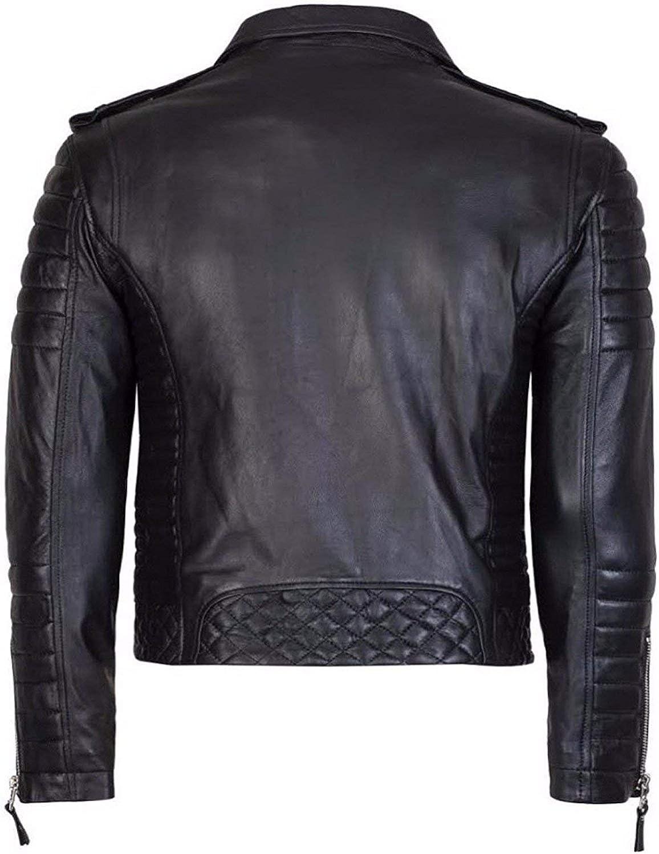 Jackets Hub Diamond Quilted Kay Michael Soft Leather Mens Black Biker Jacket