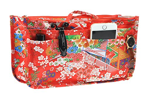 Vercord Printed Purse Handbag Tote Insert Organizer 13 Pockets With Zipper Handle Festive Flowers Large