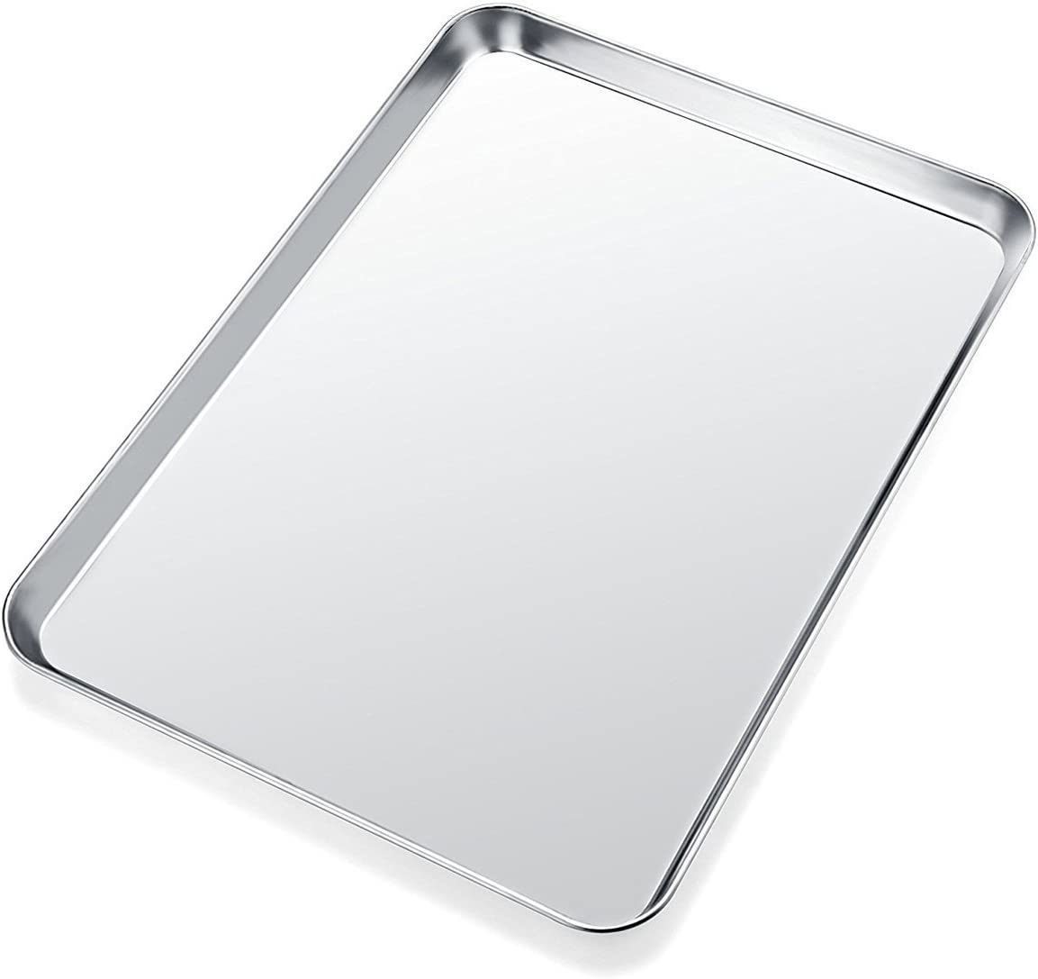 Baking Sheet, Yododo Stainless Steel Cookie Sheet Toaster Oven Tray Pan Rectangle Size 16 x 12 x 1 inch, Non Toxic & Healthy, Superior Mirror Finish & Easy Clean, Dishwasher Safe