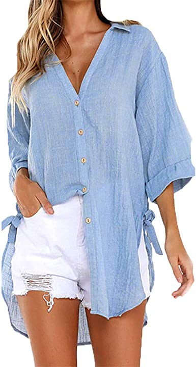 Womens Loose Henley Blouse Long Sleeve Button Down T Shirts Cotton Linen Tops