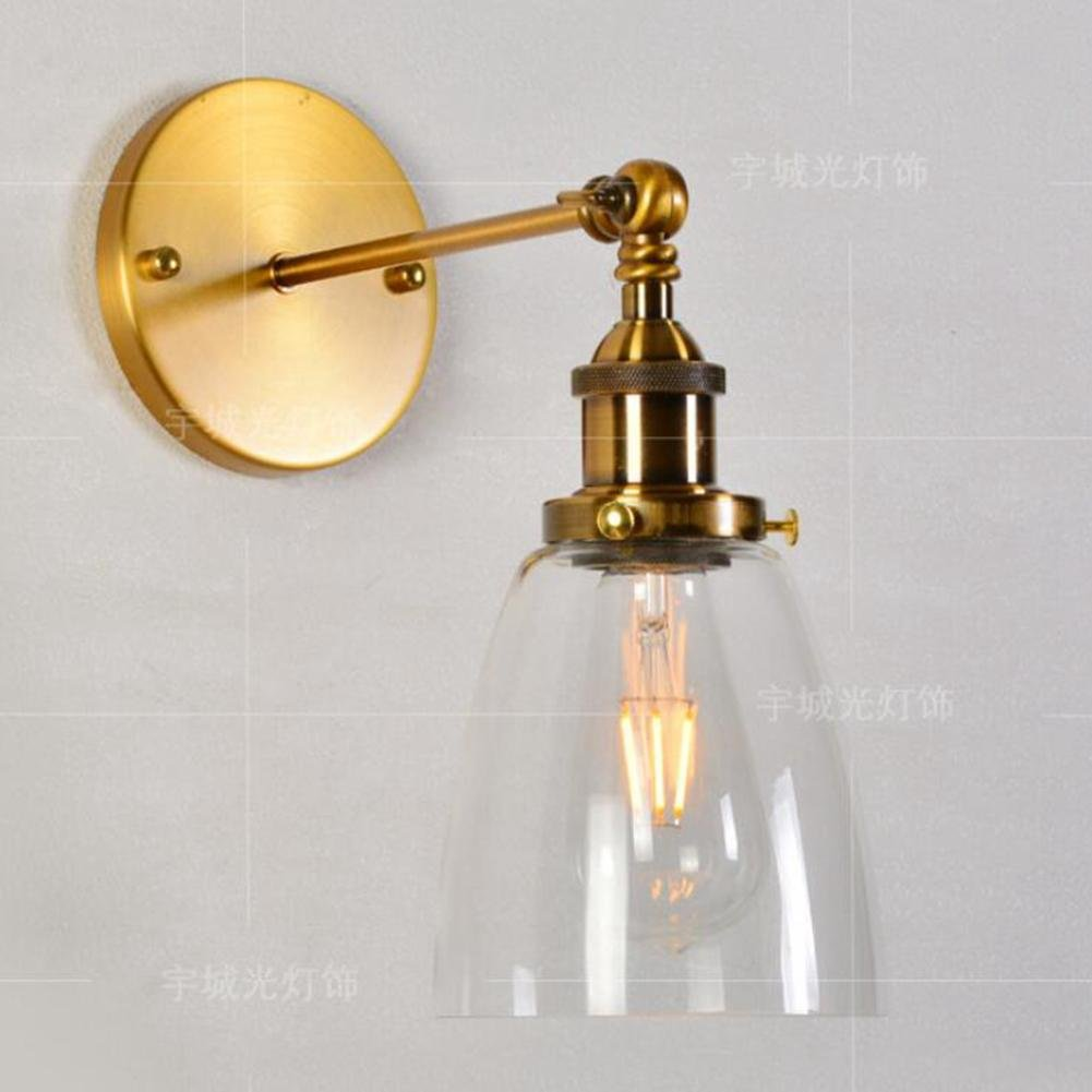 WW Simple and Modern Glass Wall Lamp Creative Ball Bronze Premium Bedside Lamp Cafe Restaurant Bar Wall Lamp, Without Light Source, B