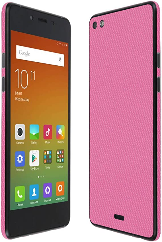 TechSkin with Anti-Bubble Clear Film Screen Protector Full Coverage Skinomi Pink Carbon Fiber Full Body Skin Compatible with BLU Grand XL LTE