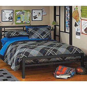 black metal full size platform bed black furniture headboard footboard and rails frame industrial new