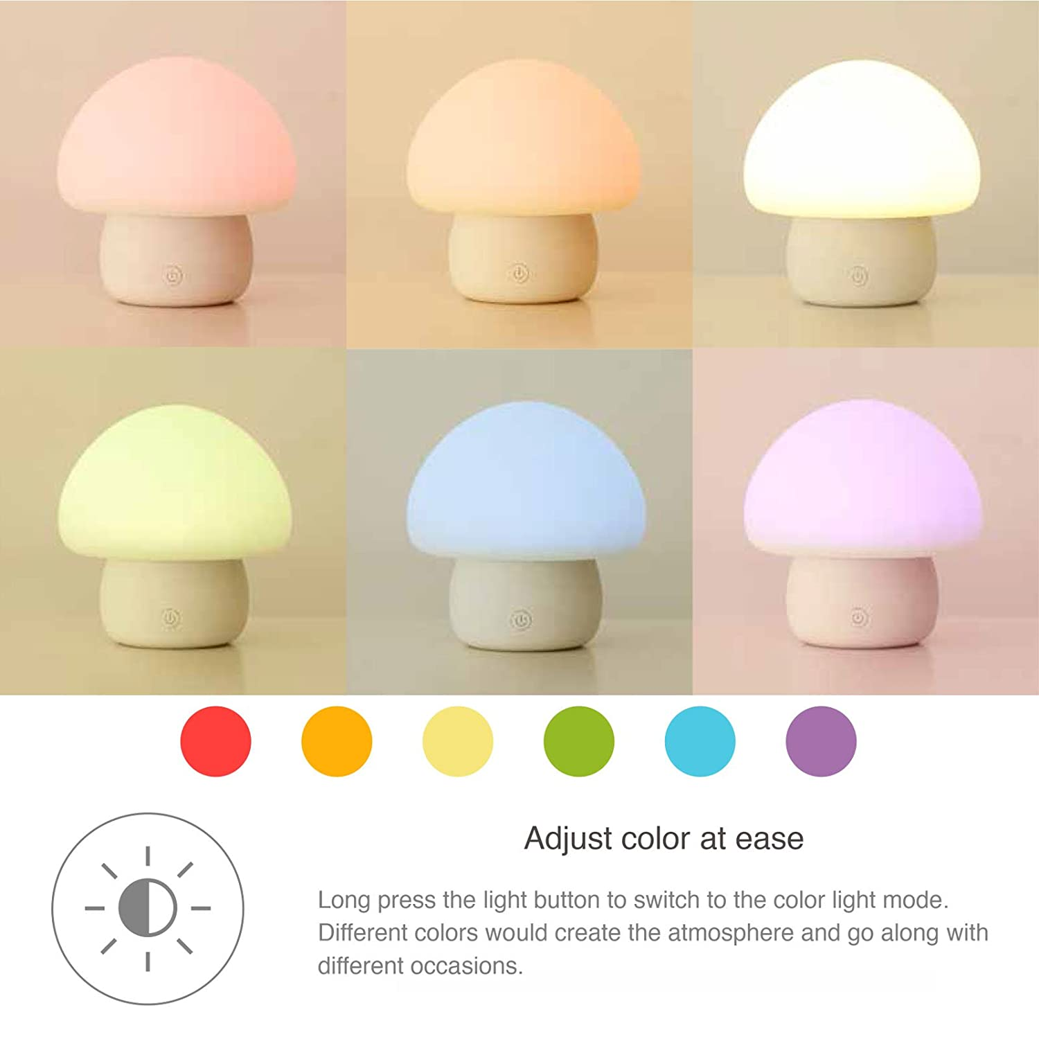 Emoi Multicolor LED Baby Night Light Portable Silicone Cute - What color light bulb for bedroom