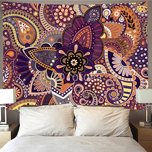 HOMESTORES Paisley floral indian mandala Wall Tapestry Hippie Art Tapestry Wall Hanging Home Decor Extra large tablecloths 60x80 inches For Bedroom Living Room Dorm Room