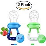 Fresh Food Feeder Pacifier,Nibbler baby Fruit Mesh Feeder Teething Toy Silicone Pouches for Toddlers&Kids(2 Pack)