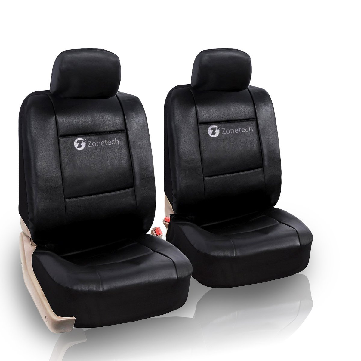 zone tech pu leather black full set car seat covers universal split bench decor ebay. Black Bedroom Furniture Sets. Home Design Ideas