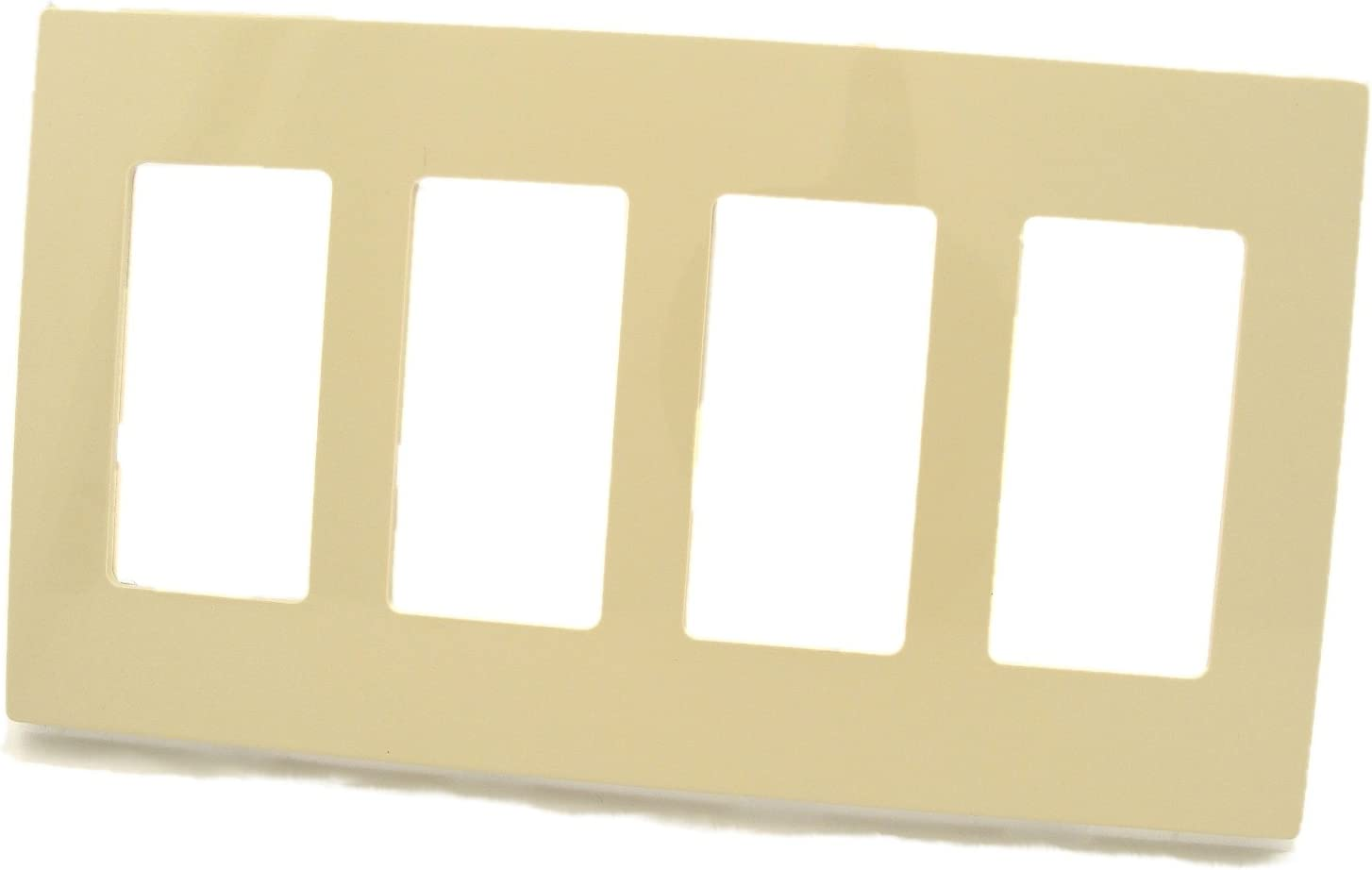 Leviton 80312-SW 4-Gang Decora Plus Wallplate Screwless Snap-On Mount,White