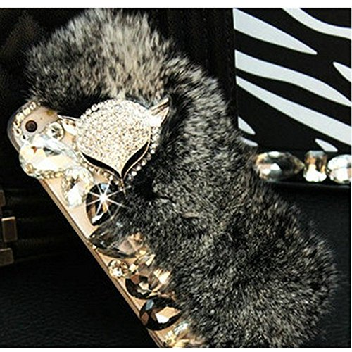 KAKA(TM Phone Case for iPod, iPod Touch 6 4D Rhinestone Crystal Clear Back Cover with Bling Fox Decoration Warm Softy Fur (Grey)
