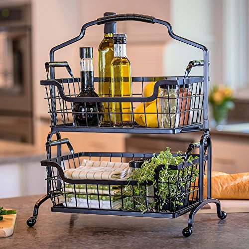 (Two-Tier Brushed Wrought-Iron Basket With Arched Handle)