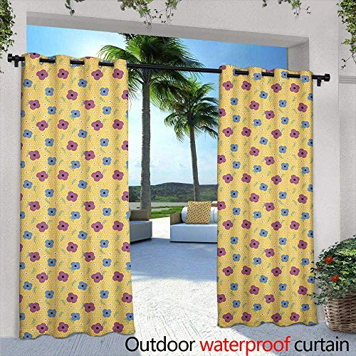 LOVEEO Floral Outdoor Curtains Polka Dotted Background with Doodle Style Blooming Flowers Feminine Spring Pattern Embossed Thermal Weaved Blackout 84