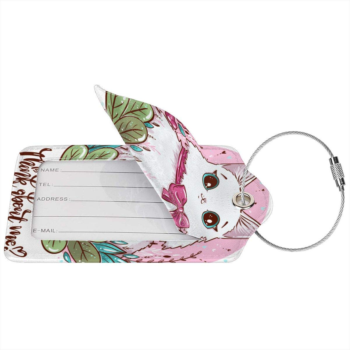 Lucaeat White Cute Cat With Flowers Luggage Tag PU Leather Bag Tag Travel Suitcases ID