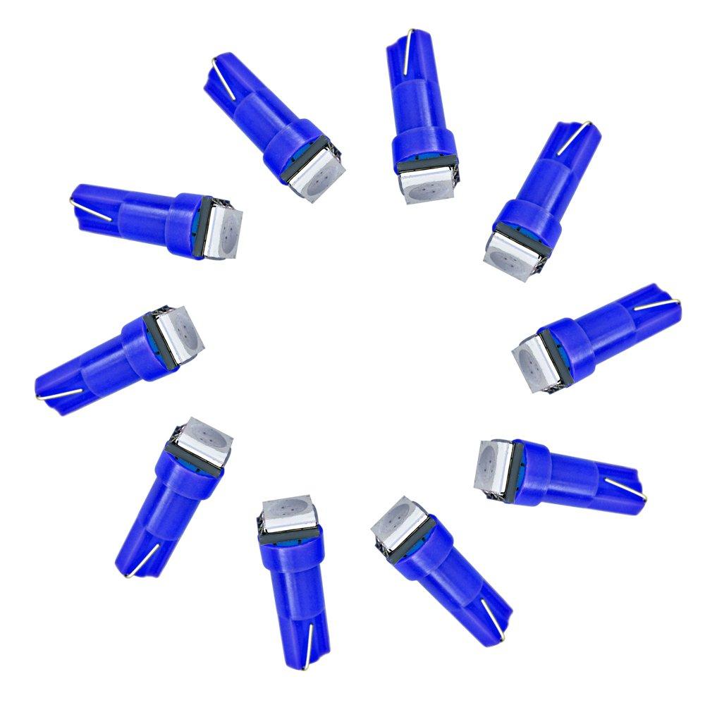 Juego de 10 luces LED SMD para interior de coche, indicador de salpicadero T5 5050, color azul claro Holdream