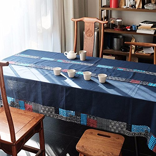 Patchwork Section 145220cm QQWWERTG Vintage Restaurant Table Cloth Ethnic Style Bast Fibre And Leaf Fibre Table Cloth Tablecloth Table Tablecloth Squid,Flower And Bird Models,145  220Cm