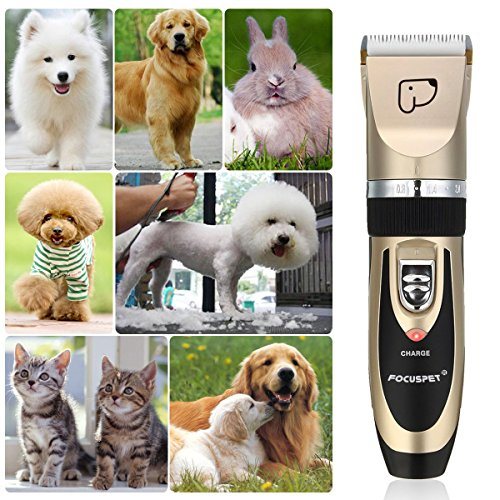 FOCUSPET Pet Grooming Clippers, Low Noise Professional Rechargeable Cordless Dog Grooming Clippers Kit Electric Hair Trimming Clippers Set Dogs Cats Other Animals (Gold&Black) by FOCUSPET (Image #6)