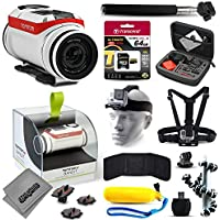 TomTom Bandit 4K Action Camera with 64GB Ultra Memory + Premium Case + Head Strap + Selfie Stick + Chest Harness + Flexible Tripod + Floaty Bobber + MicroSD Card Reader + More