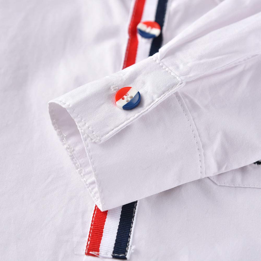 JJCat Boys 2T-10Y Button-Down Collar Brife Style White Cotton Casual Shirts