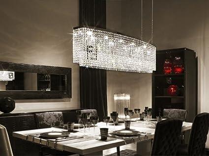 Siljoy Modern Crystal Chandelier Rectangular Pendant Lighting for Kitchen  Island Dining Room 4 Lights H16 x W32 x Depth 8\