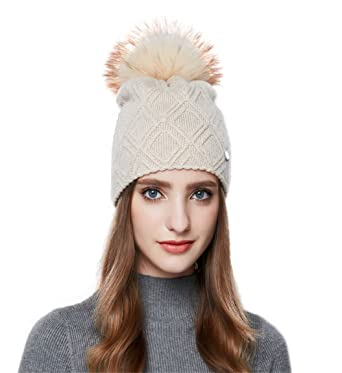 GEREYAN Stylish and Comfortable Wool Beanie Knit Hat With Raccoon Fur Pom  Pom (Beige) 26f219426283