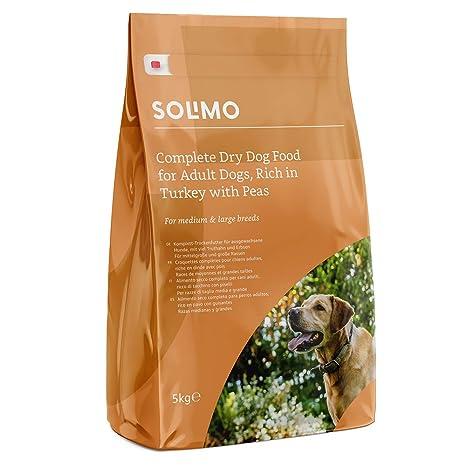 Marca Amazon - Solimo - Alimento seco completo para perro adulto rico en pavo con guisantes
