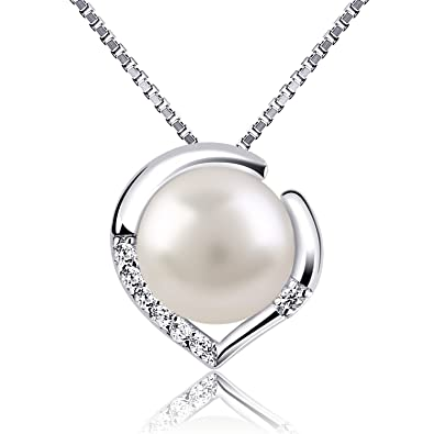 Btcher silver necklace pearl jewellery 925 freshwater pearl btcher silver necklace pearl jewellery 925 freshwater pearl heart pendant nekclaces aloadofball Image collections
