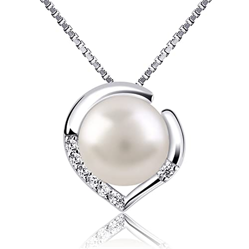 B.Catcher Silver Necklace Pearl Jewellery 925 Freshwater Pearl Heart Pendant Nekclaces Nl0AdVhp