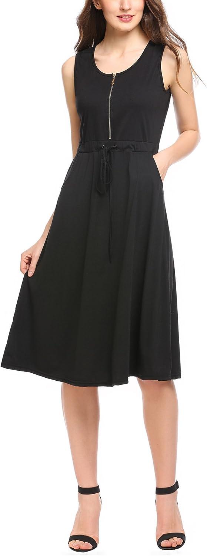 Zeagoo Damen /Ärmellos Sommerkleid Freizeitkleider Elegant Party Kleid Maxikleid Tr/ägerkleider A-Linie Knielang Sommer Tank Shirt-Kleid Strand mit g/ürtel