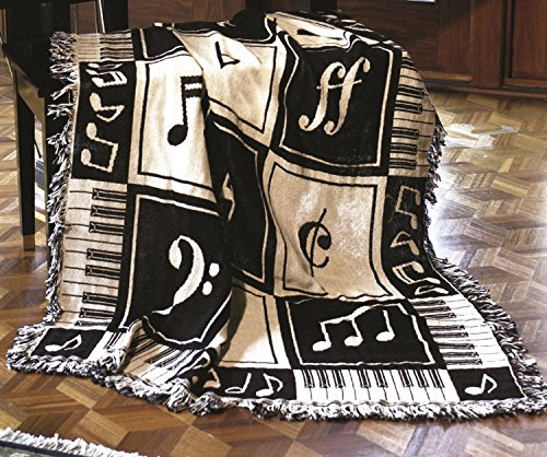 Black and White Musical Notes and Piano Keys Two-Layer Throw Blanket 46