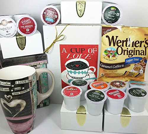 Keurig K CUP Coffee Lovers Sugar Free Prime Coffee Gift Box Basket Sampler Set with Quality Lang Mug Perfect for Birthday Thinking of You Anniversary Congratulations Christmas- 16 Most Popular KCUPS