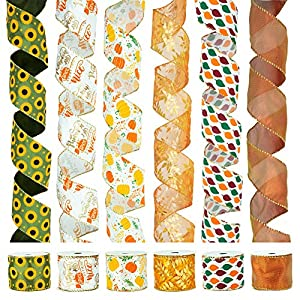 VATIN Fall Wired Ribbon for Wreath Bows Craft Trim, Gift Wrapping Ribbons Fall Leaves Ribbon Mesh Sheer, 2.5 Inch Wide 30 Yards