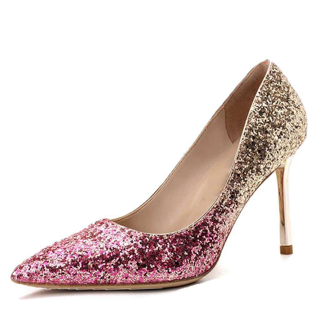 rose wthfwm Talon Aiguille à Bout Pointu pour Femme Escarpins à Bout Pointu Escarpins en Cuir Chaussures de mariée en Cuir Chaussures de mariée Paillettes Simples Chaussures Demoiselle